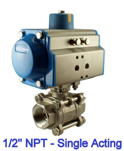 """1//2/"""" Inch Pneumatic Air Actuated Stainless 3 Pieces Ball Valve Single Acting NC"""