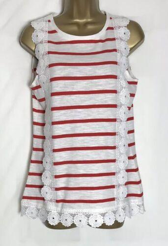Dorothy Perkins Sample Ivory Stripe Sleeveless Cotton Jersey Top Size 12 47