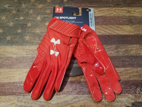 Under Armour UA Spotlight NFL NCAA Football Reciever Gloves with Glue Grip Red