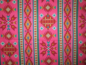 Native-American-Beaded-Like-Floral-Pink-Border-Print-Cotton-Fabric-BTHY