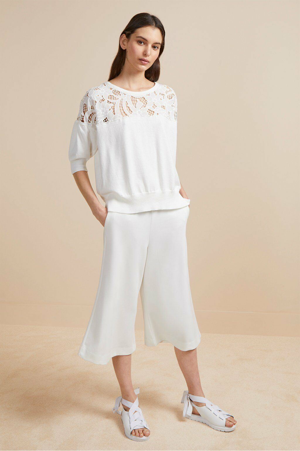 French Connection Women's Salerno Lace Knit Jumper (Summer White) RRP