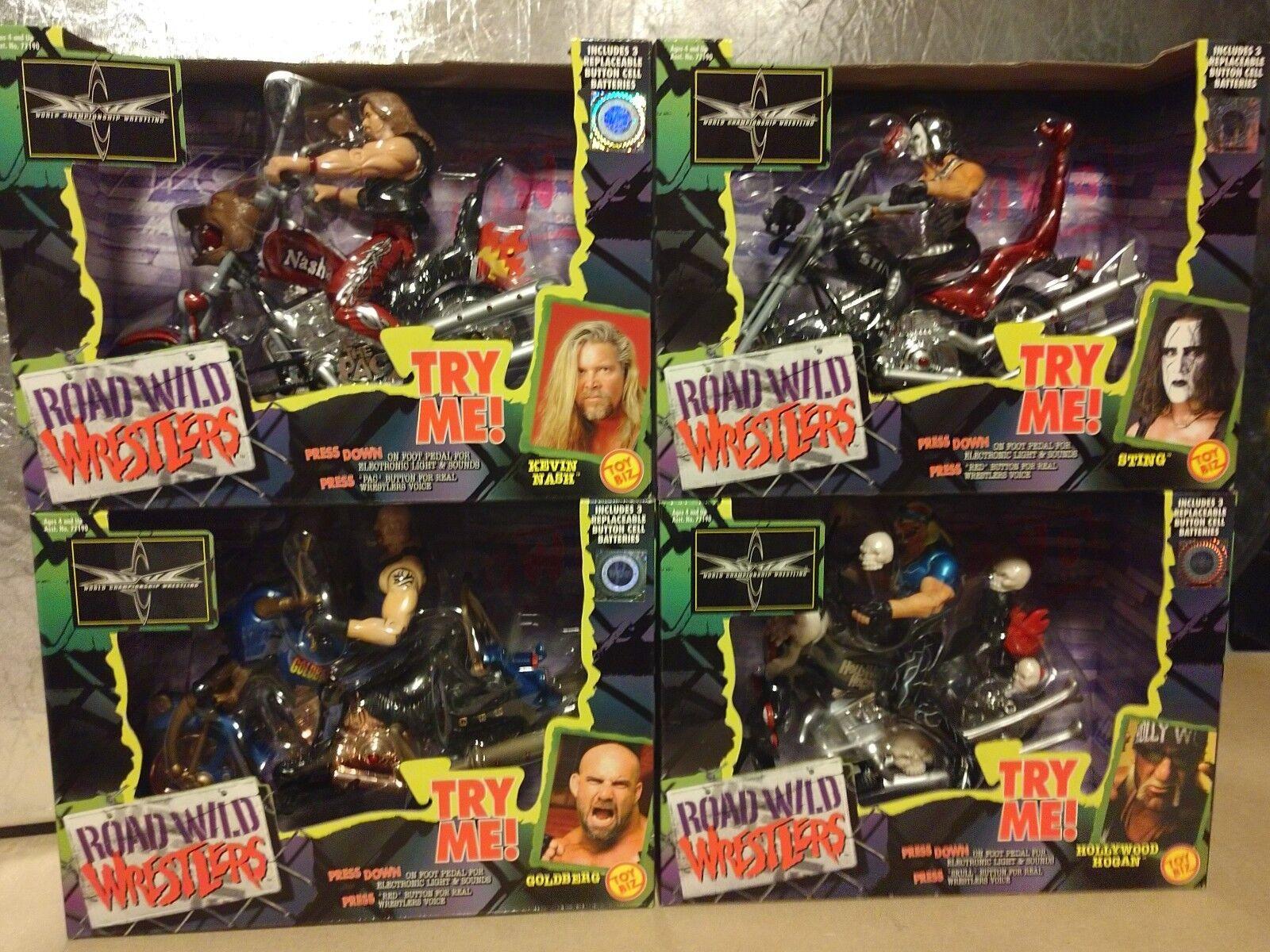 1999 WCW Road Wild Wrestlers Motorcycle Sting, Hulk Hogan, Kevin Nash, goldberg