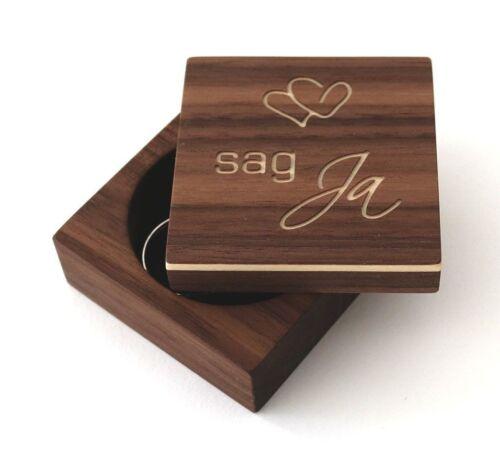 Ringkästchen für Verlobungsring, sag Ja - Nussbaum