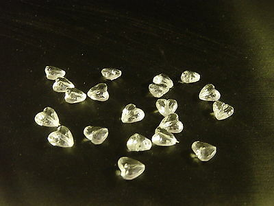 10 'Crystal' heart beads - great for cardmaking, craft, needlework