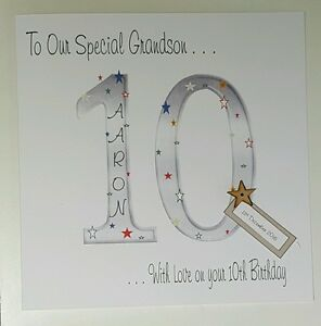 Image Is Loading Large Personalised 10th Birthday Card Grandson Son Nephew