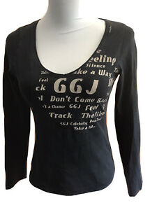 Guga-Jeans-Damen-Shirt-Stretch-Gr-M-L-Anthrazit-Schriftdruck