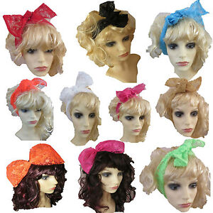 80s fancy dress alice hair band hair scarf neon lace