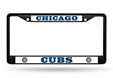 Chicago Cubs Black Frame Chrome Metal License Plate Tag Cover Baseball