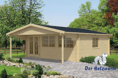 Gartenhaus Rune mit Dachunterstand Blockhaus 595x795cm Holzhaus 70 mm Holz Neu