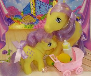 My Little Pony Vintage G1 Lemon Drop and European Baby Lemon Drop MLP 1984 Cute!