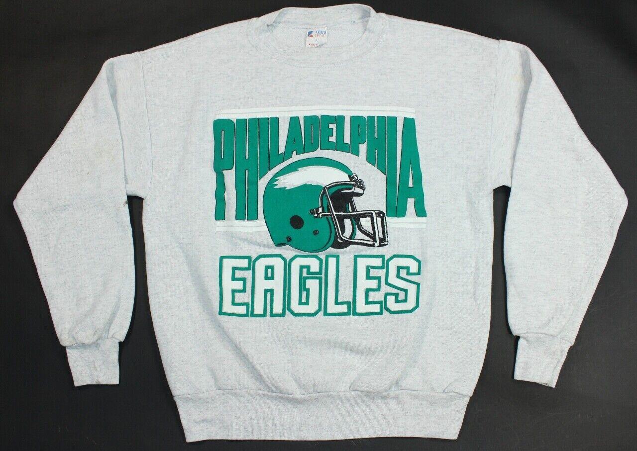VTG Philadelphia Eagles 80s 90s Gray Puff Print Helmet NFL Football Sweatshirt