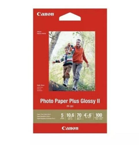 """Canon PP-301 Photo Paper Plus Glossy ll 4/""""x6/"""" 100 Sheets-White 1432C006"""