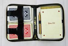 Vtg Black Leather Griffon Playing Card Deck Score Pad & Penceil Case Travel Set