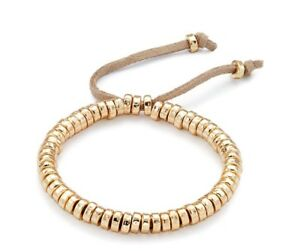 Ladies-Beaded-Adjustable-Bracelet-With-Suede-Cord-In-A-Gold-Finish-60544
