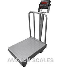 1000 X 02 Lb Digital Scale 24x32 Backrail Wheels Shipping Bench Warehouse New