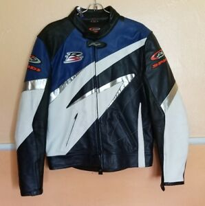 Spidi-On-Track-Men-Leather-Motorcycle-Jacket-size-54-possibly-euro-size-U-S-2XL
