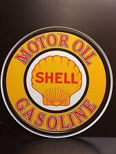 Shell Motor Oil Round TIN SIGN Garage Vtg Gasoline Metal Wall Decor Logo