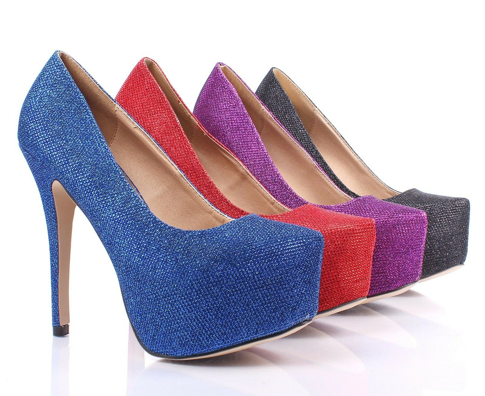 46e2cb0b550 Details about 4 Color Glitter Stilettos Slip On Fashion Pumps Platform Womens  High Heels Size