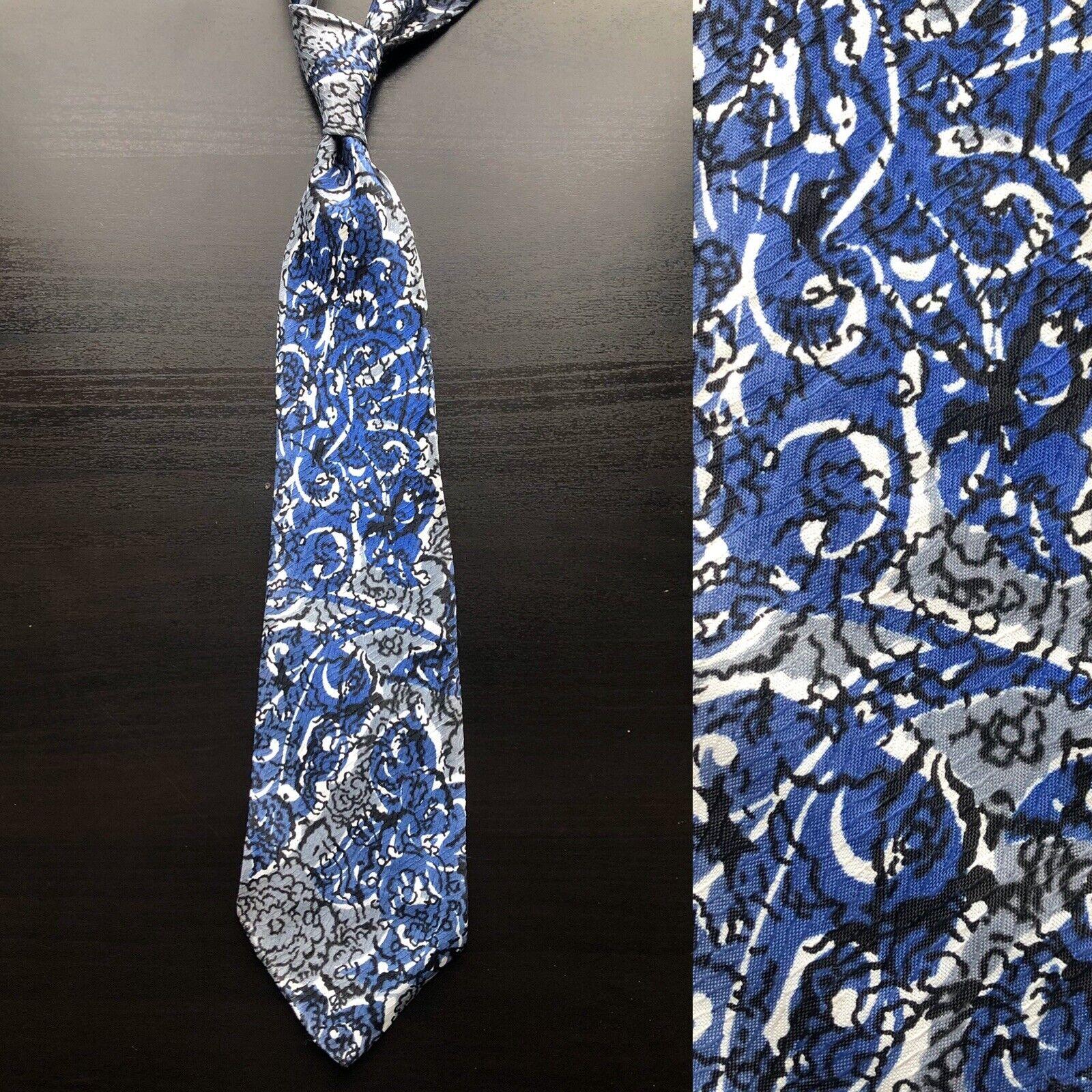 'Blue & Black Flowers' Gray Tie EUC VTG Art Deco 1930s 1940s Batik Art Deco