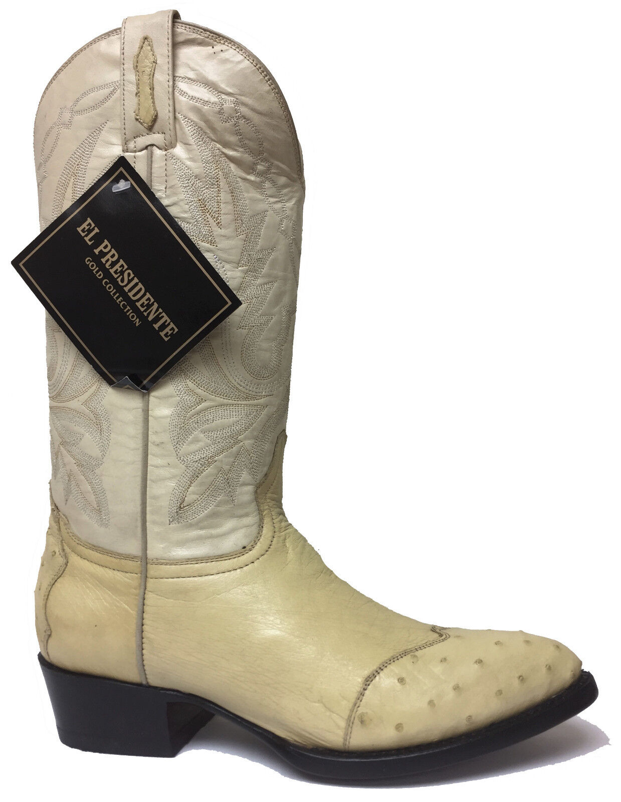 New Mens Off White Genuine Ostrich Leather Western Cowboy Rodeo Boots Size 7.5