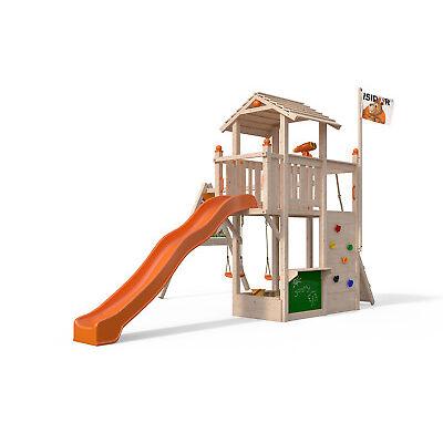 ISIDOR Joshy Spielturm Baumhaus Schaukel Kletterturm Rutsche 1,50 m Podest Sand