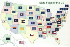 Details about Map of the United States showing State Flags, Texas  California NY etc - Postcard