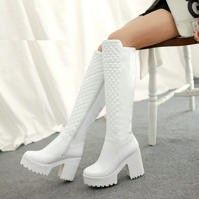 molto popolare donna Winter Warm Fur Knee High stivali Platform PU Leather Leather Leather Thick High Heels scarpe  caldo