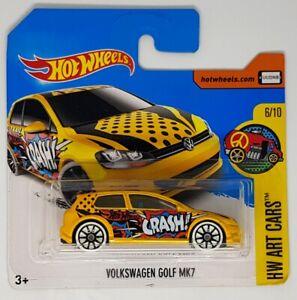 Hot-Wheels-Volkswagen-Golf-Mk7-HW-Arte-Cars-6-10-Tarjeta-Corta-Amarillo