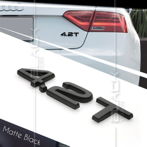 MATTE BLACK 4.2T REAR BOOT TRUNK LOGO LETTER EMBLEM BADGE FOR AUDI QUATTRO SLINE