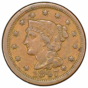 1847 1c Braided Hair Large Cent - VF/XF Original Coin - SKU-Y1261
