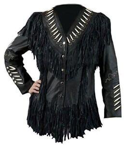 amérindien manteau noir en franges Western pour femmes à cuir cuir Manteau Western en Rqwdn541RU