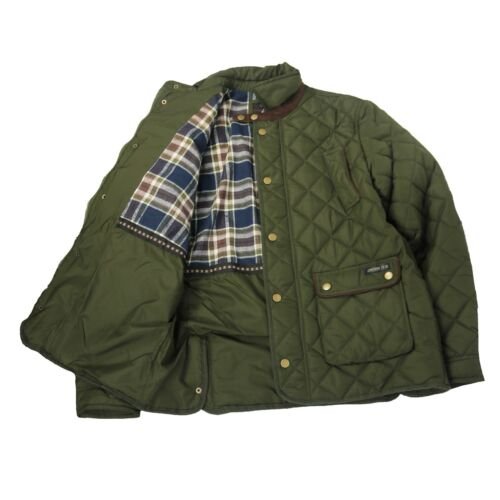 By Carabou Fife Mens Quilted Outdoor Country Jacket Khaki Full Zip Jacket
