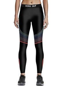 c4f3d056bacf3 Image is loading Fashion-Workout-Black-legging-Rainbow-stripe-print-elastic-