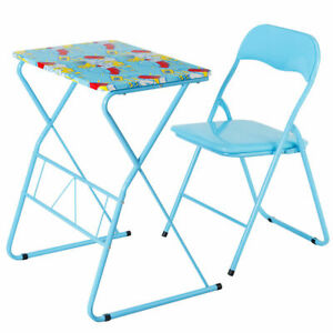 Foldable Table And Chair Set.Details About Kids Folding Table Chair Set Study Writing Desk Student Children Home School New