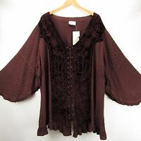 Holy Clothing 4x Brown Boho Gypsy Gothic Romantic Renaissance Top