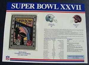 1993 NFL Super Bowl XXVII (27) Patch Dallas Cowboys vs Buffalo Willabee & Ward