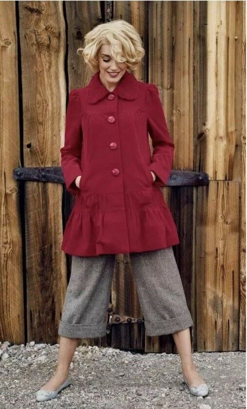 Anthropologie Elevenses Grable Swing Red Corduroy Flare Coat Size 4