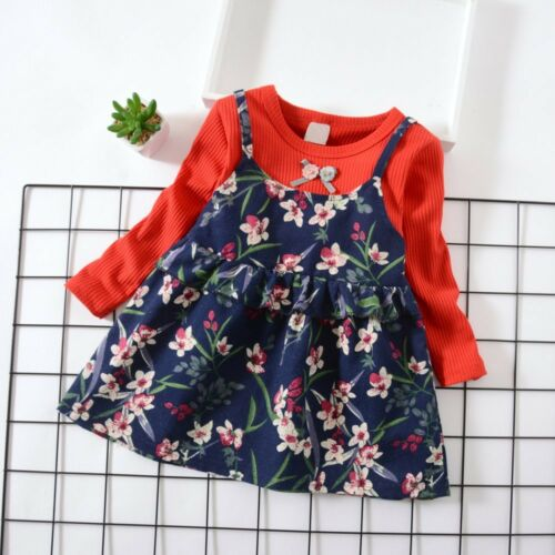 Infant Kid Baby Girl Long Sleeve Floral Flower Print Dress Outfit Cotton Clothes