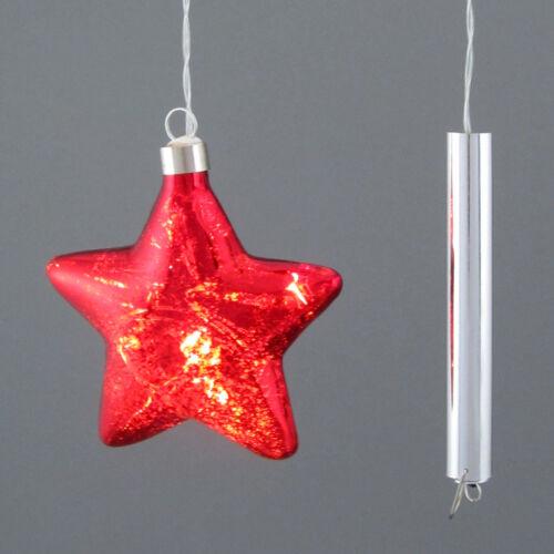 Sterne ROT  785501-01 Glasstern  LED 8 cm GLAS STERN HÄNGER mit BELEUCHTUNG