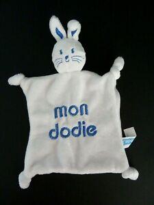 doudou plat peluche lapin blanc et bleu dodie TBE