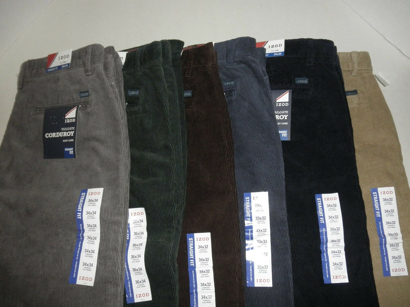 NWT  Mens  IZOD Straight Fit Corduroy Pants 100% Cotton