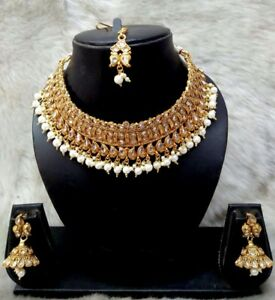 Indian-Bollywood-Bridal-Wedding-Fashion-Gold-Jewelry-Necklace-Earrings-Set