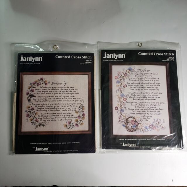 New Janlynn Counted Cross Stitch Kit #80-04  MOTHER 80-03 Father Stoney Creek