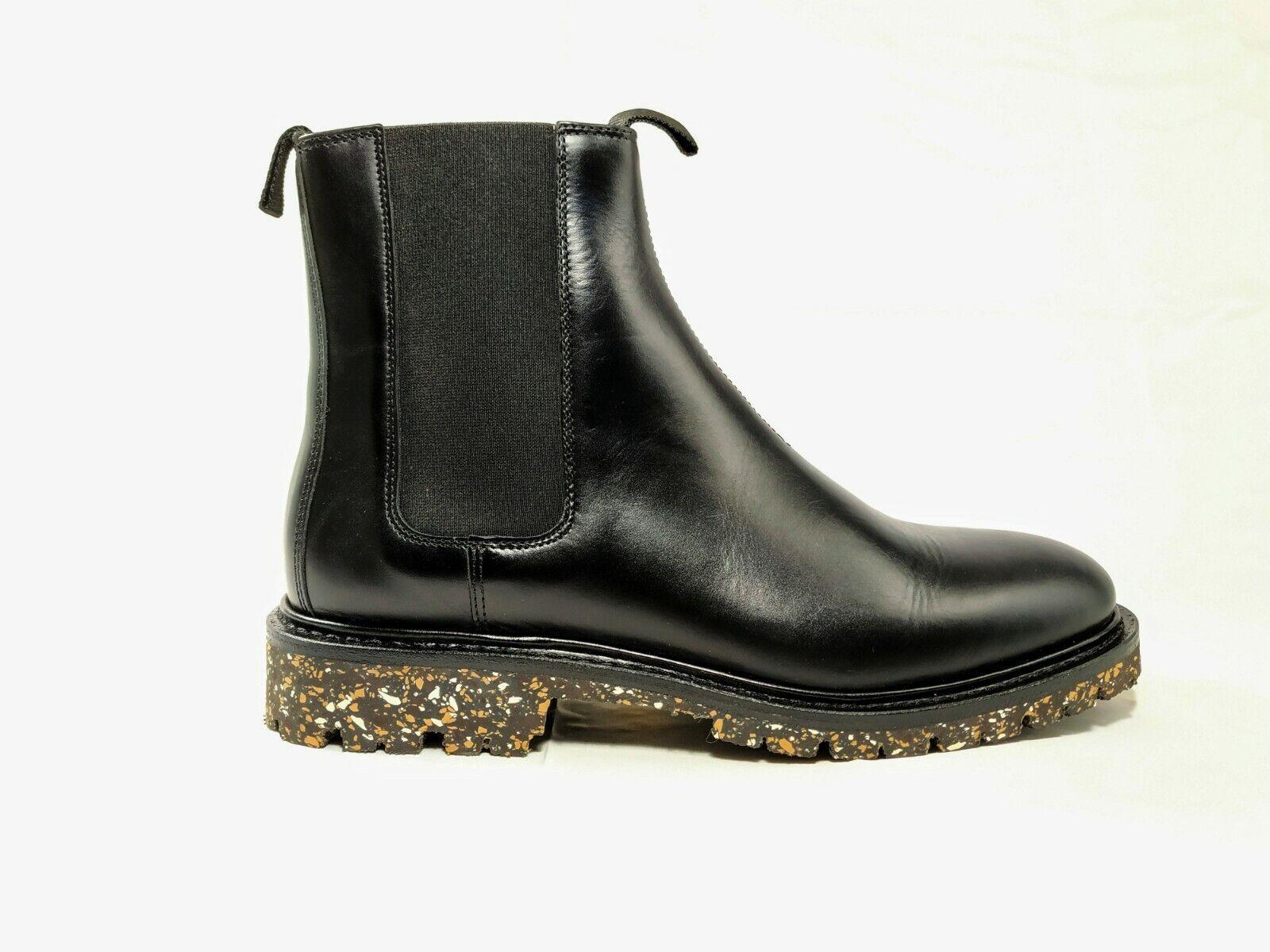 Mens ARKET Black Leather Dealer Chelsea Boots    VIBRAM Commando Outsole