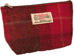 HARRIS-TWEED-PURSE-MAKE-UP-POUCH-COSMETIC-BAG-PENCIL-CASE-TARTAN-PINK-RED