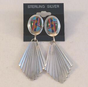 Rita Dawes Sterling Silver with Black Onyx Vintage Hinged Earrings