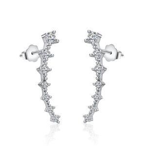 925-Genuine-Sterling-Silver-Ear-Climber-Crawler-Clear-CZ-Stud-Earrings-Charm