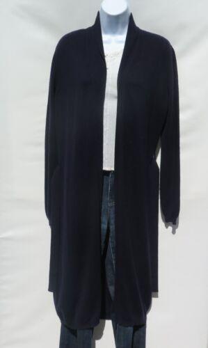 100/% Cashmere B Open Cardigan L XL Navy Blue Quality Tibetan Knit Long