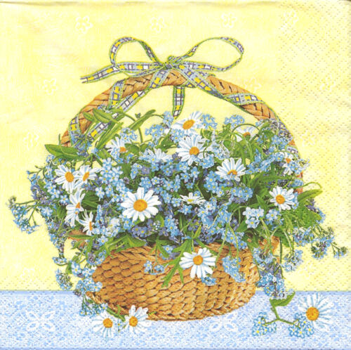 4 Single Paper Napkins for Decoupage Basket of Forget-me-not and Daisy Flowers