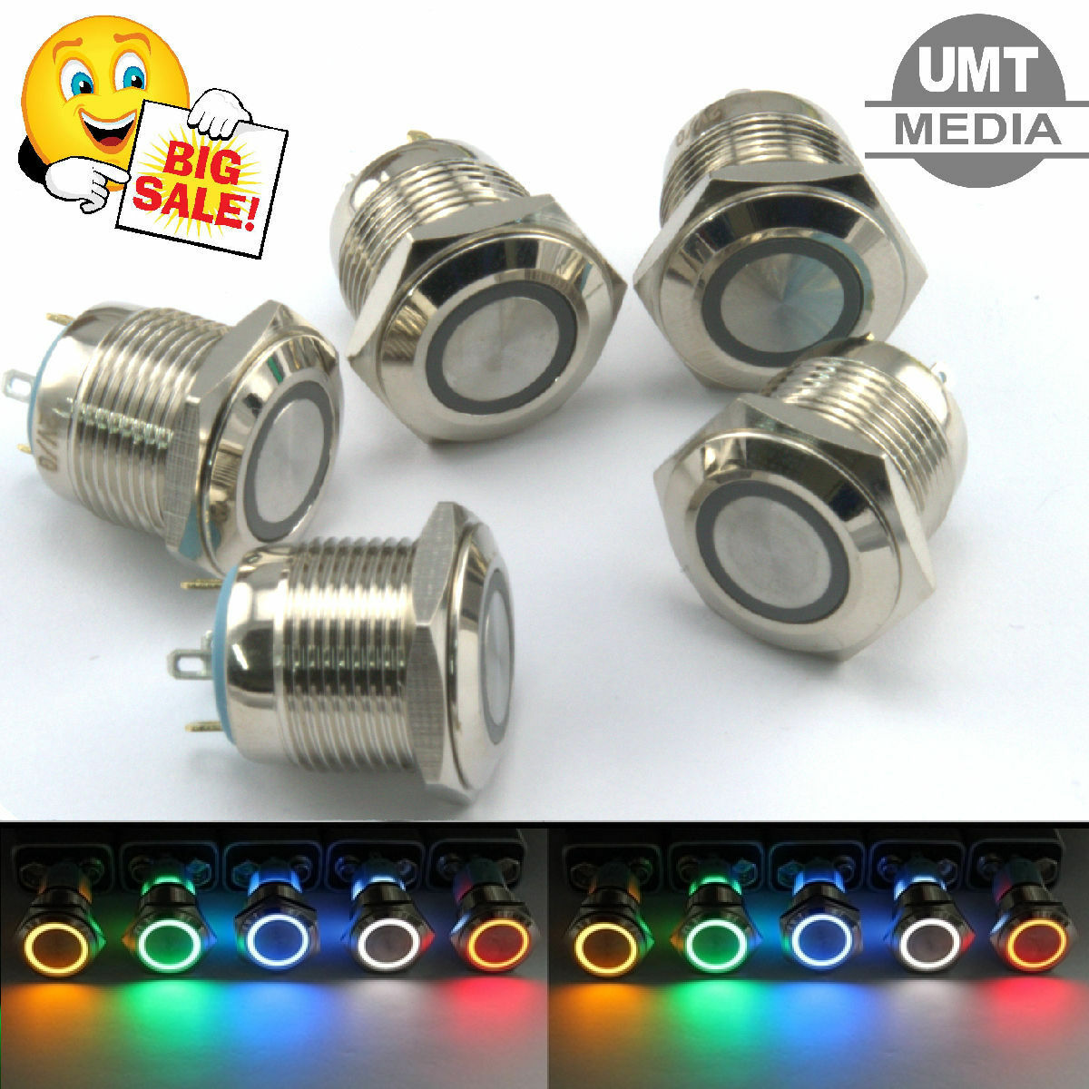12V/24V Momentary Push Button Switch - Round Aluminium Metal 3A ...